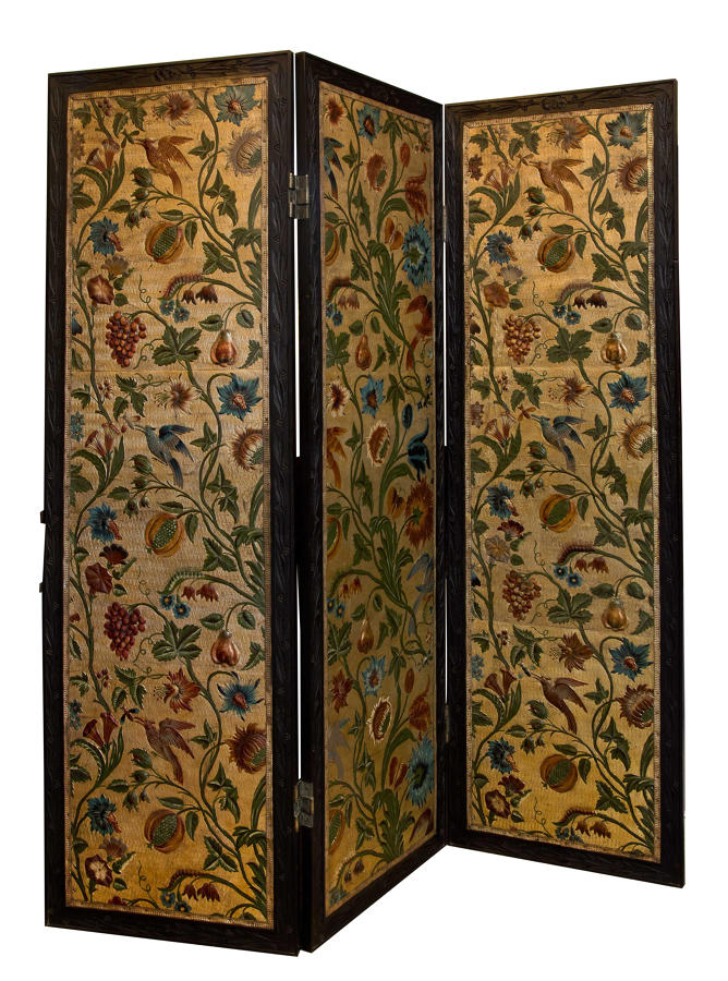 Embossed and coloured leather screen with 3 panels c1880