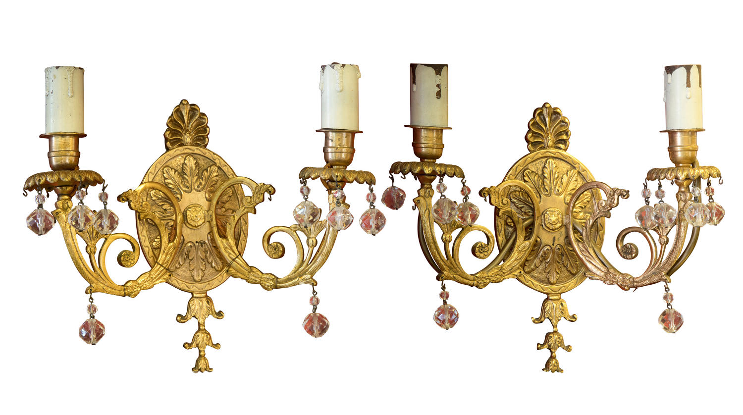 Pair of ormolu wall lights with glass drops c1920