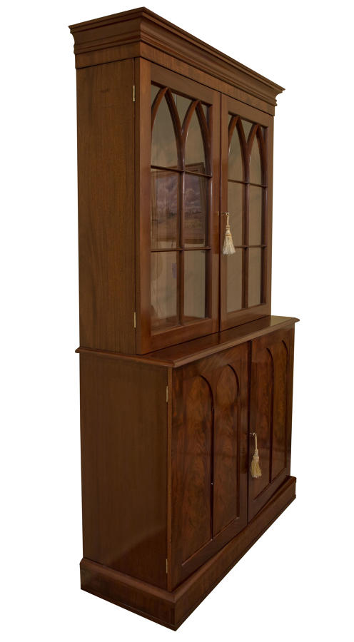 Gothic style mahogany bookcase and collectors cabinet c1830