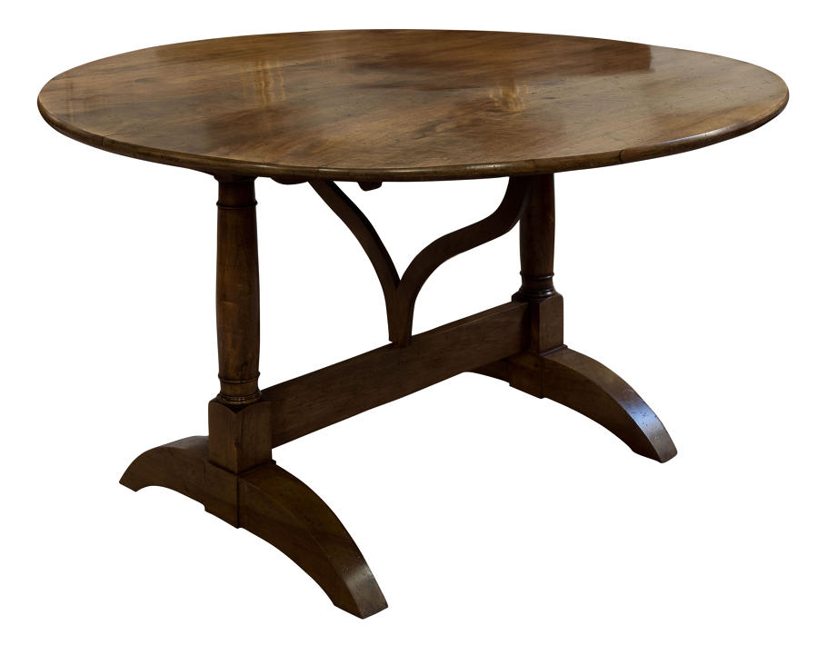 French circular cherrywood vineyard table c1890
