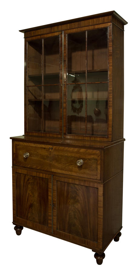 Late regency/George IV mahogany secretaire bookcase
