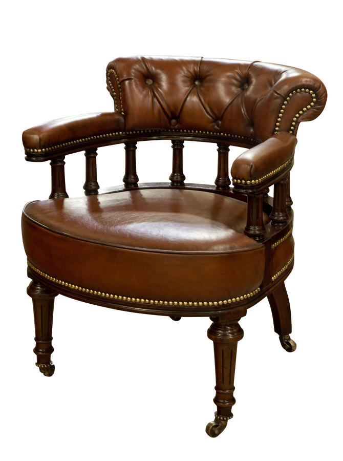 Leather tub desk chair c1910