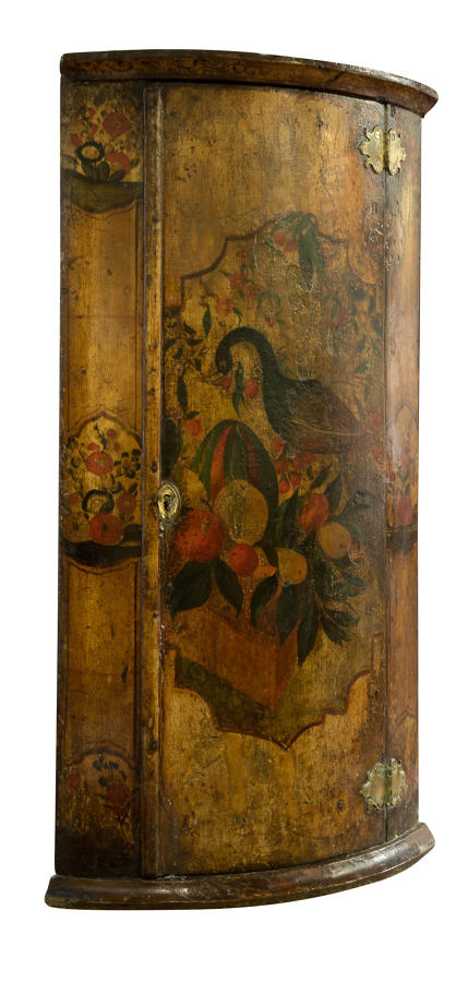 18thC Dutch polychrome painted corner cupboard
