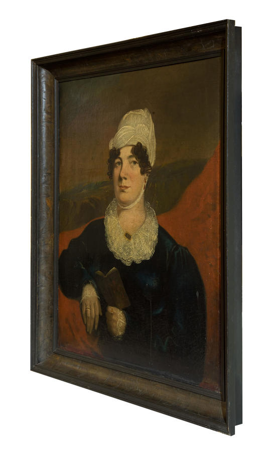19thC portrait of woman with book