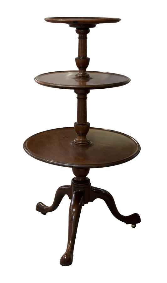 Regency mahogany dumb waiter on original castors