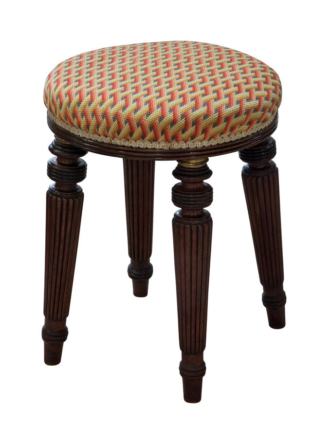 George IV mahogany and brass mounted music stool with needlework seat