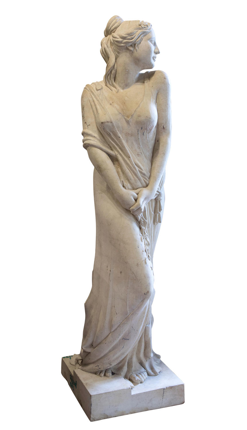 20thC Coadstone figure of a maiden depicting spring