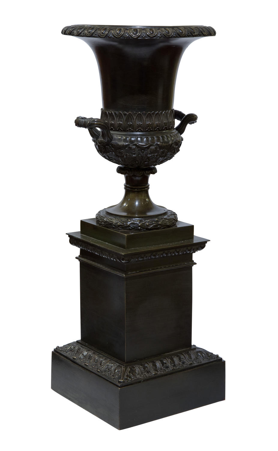 Early 19thC 'Grand Tour' bronze urn on integral plinth c1830