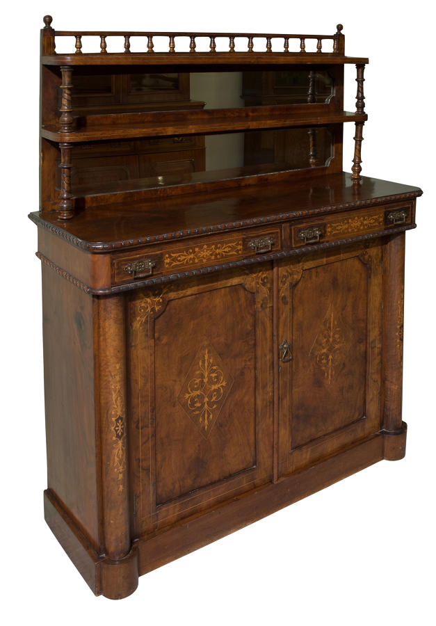 Figured & inlaid walnut chiffonier c1870