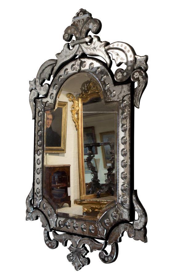 Venetian etched border glass mirror c1920-30