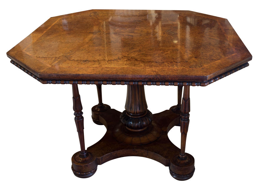 Fine burr walnut octagonal centre table c1865