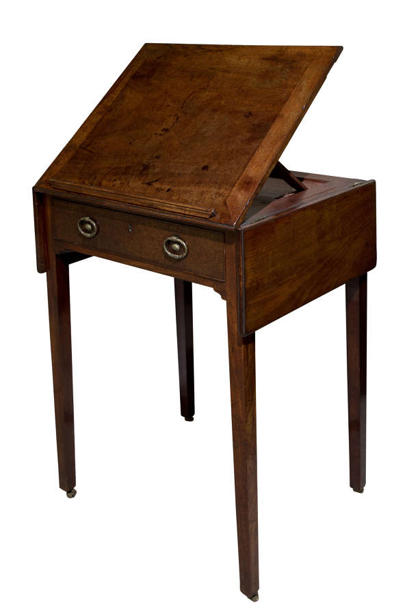 Rare George III mahogany drawing table with top rising on easel c1785