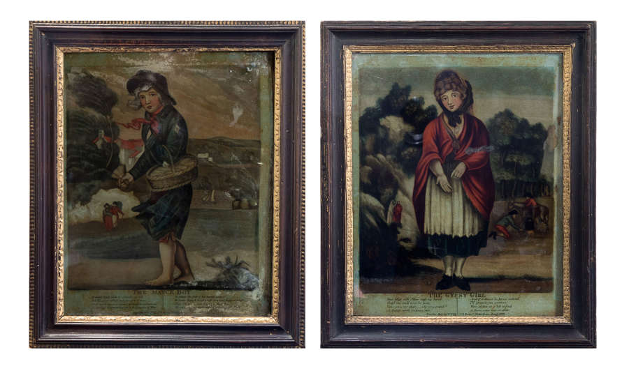 Pair of 19thC glass paintings 'The Match Boy' & 'The Gypsy Girl'