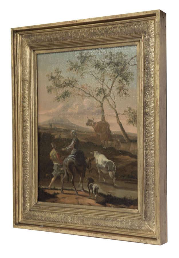 Oil on canvas of sheep & cattle in a landscape c1860