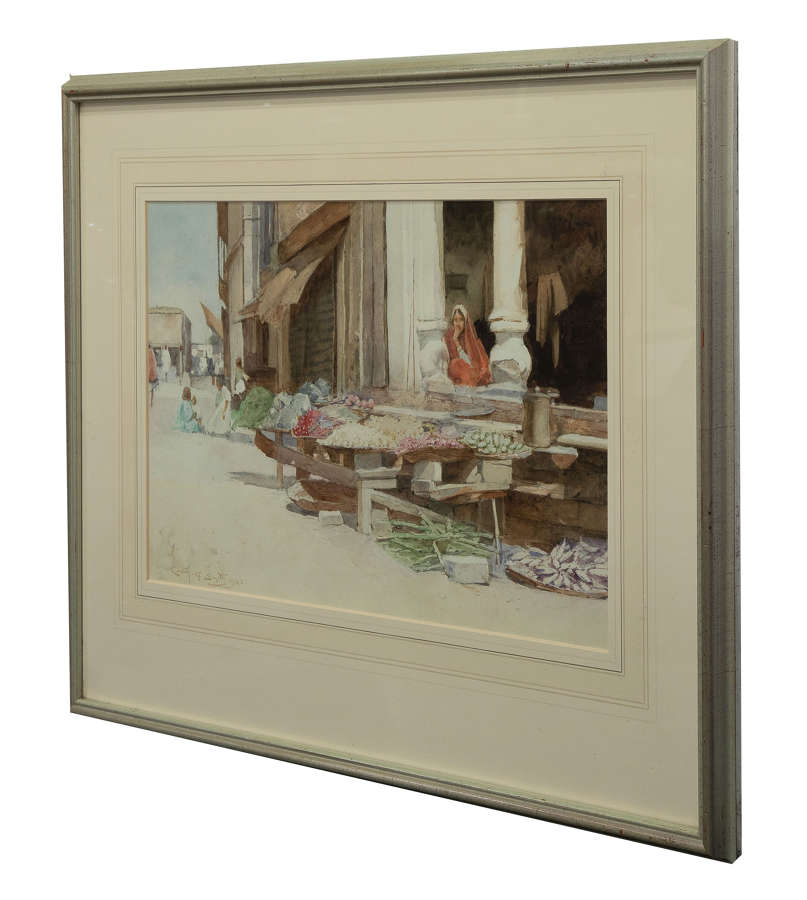Water colour market scene by Carlton Alfred Smith dated 1922