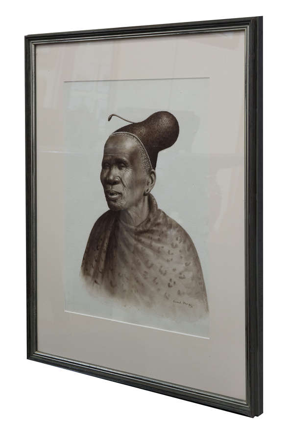 Water colour of African chief signed Gerard Bhengu