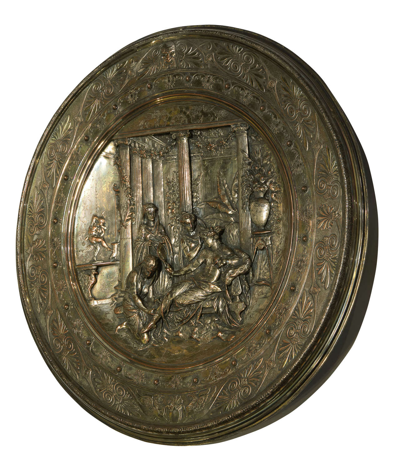 Silver plate on brass with decorative Elkington charger c1876