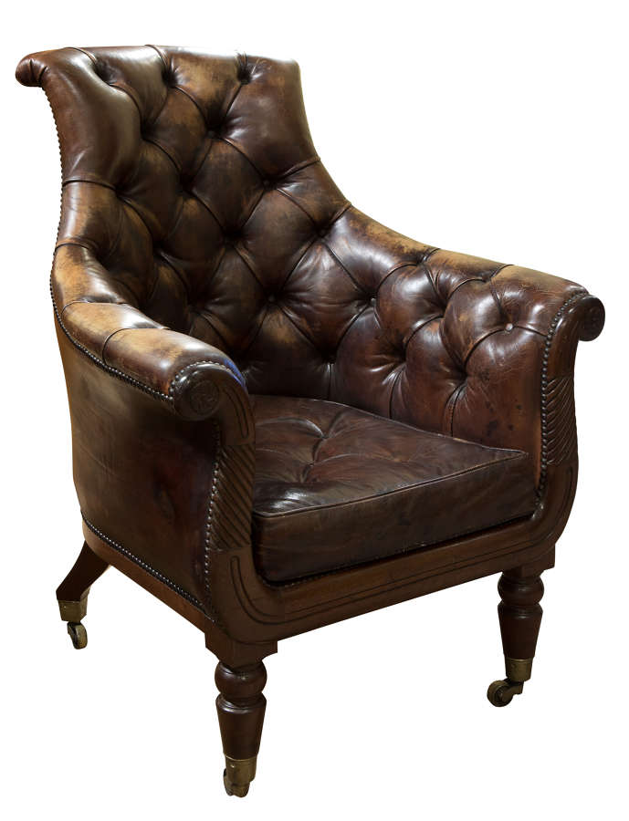 English regency mahogany and distressed leather armchair c1820