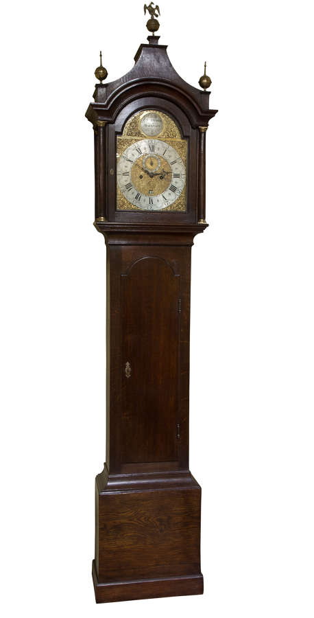8 day brass faced oak cased longcase clock with arched dial c1780