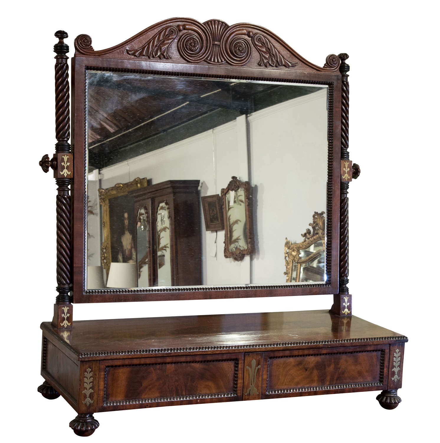 Large George IV Gillows mahogany and brass inlaid dressing mirror
