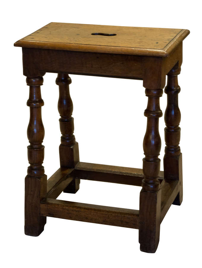 Late 18thC oak joined stool of unusual height