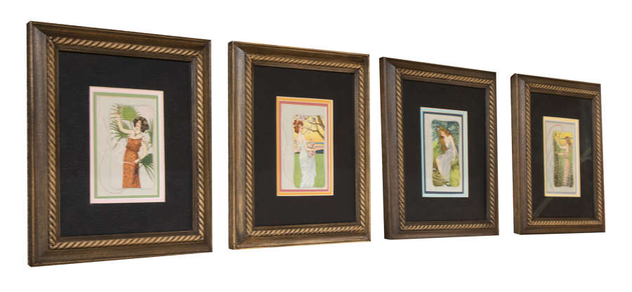 Set of four well framed pictures (French postcards)