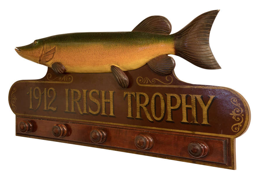 Mahogany fishing trophy with painted fish c1960