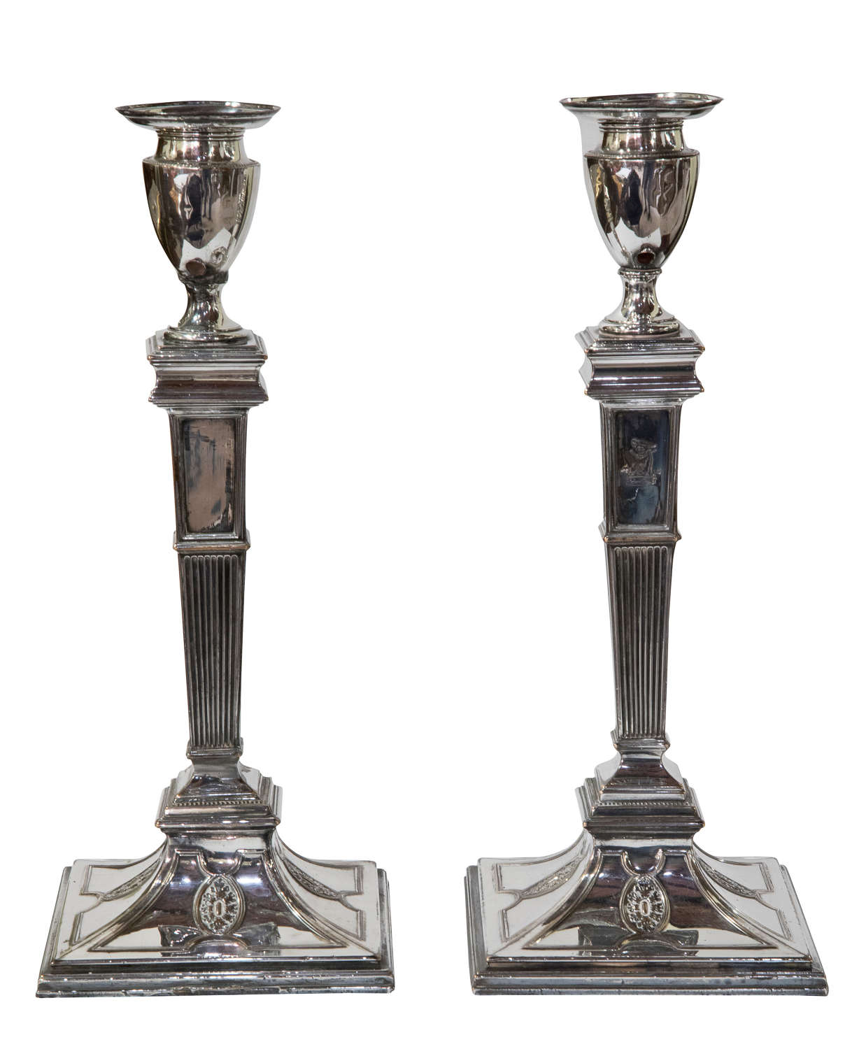 Pair of Old Sheffield plate candlesticks with vase shaped sconces