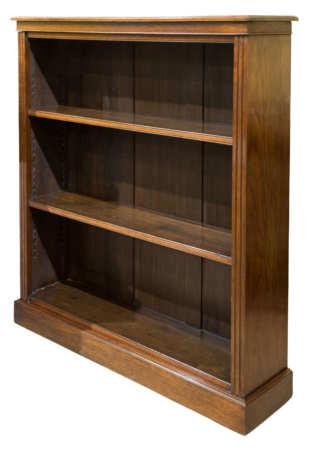 Useful 19thC walnut open bookcase with two adjustable shelves c1880