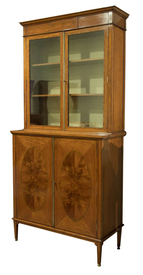 Edwardian satinwood & tulipwood banded glazed cabinet on stand c1910