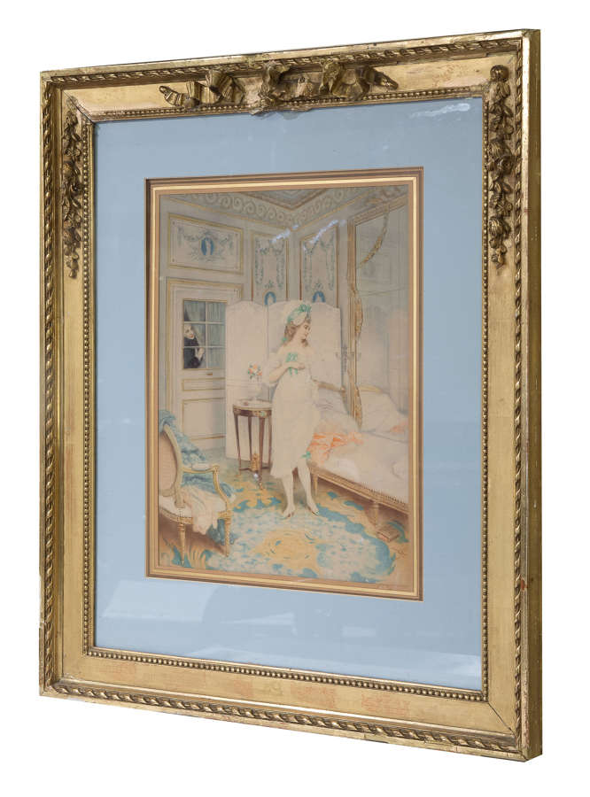 19thC watercolour of A Lady's Dressing Room by Lucius Rossi