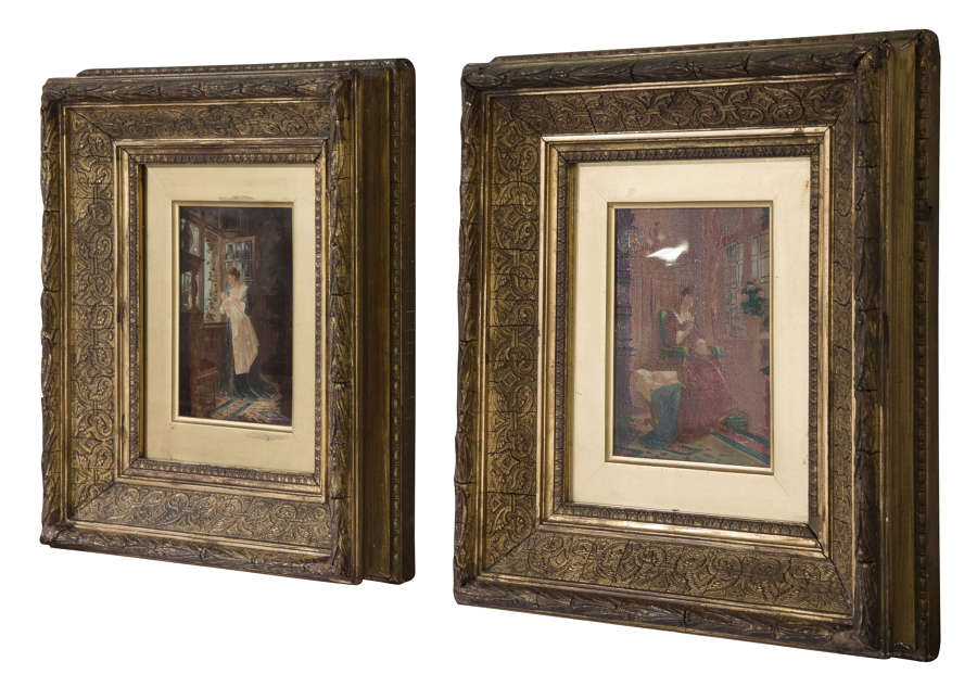 19thC pair of oil paintings of women with babies by Ernst Anders