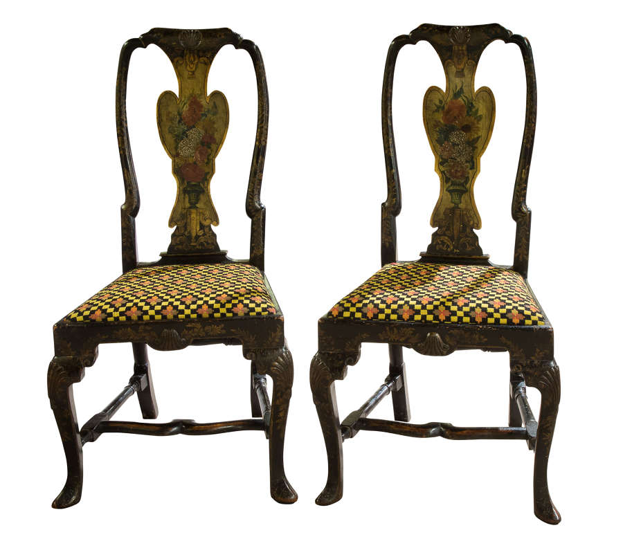 Pair of Queen Anne style japanned side chairs c1880-1900