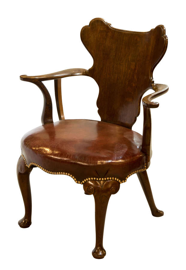 George I style oak lining writing chair with cartouche back c1860