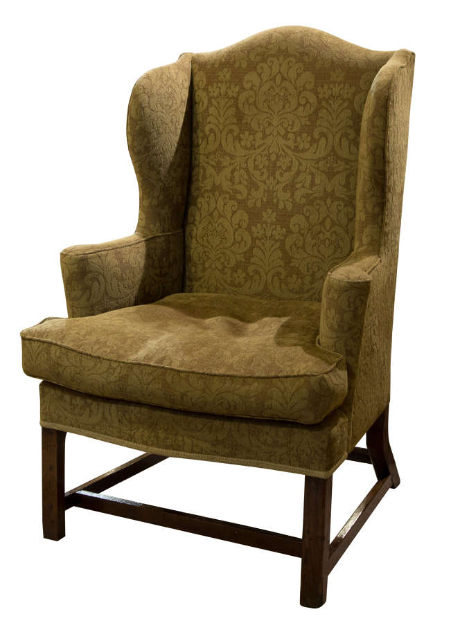 18thC writing chair with unusual leg configuration in oak c1760