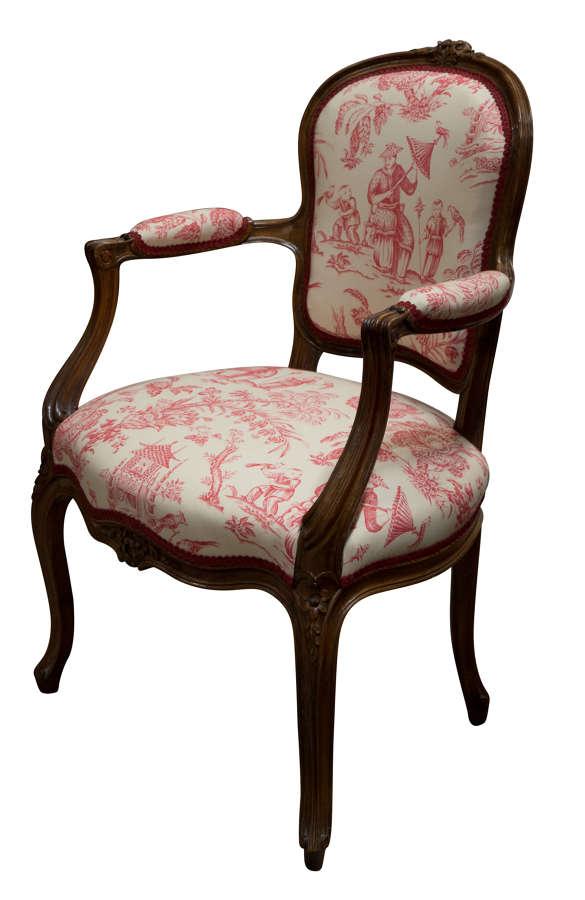 Walnut framed Louis XVI style fauteuil c1900