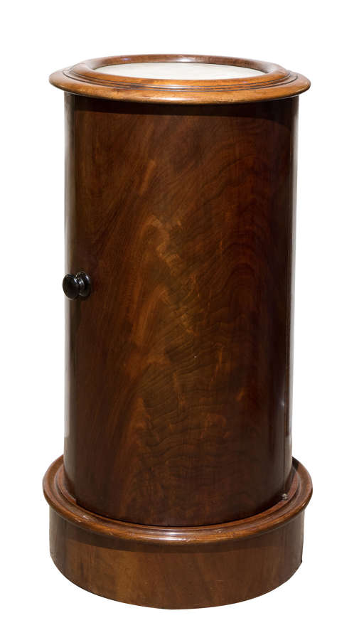 Circular mahogany bedside cupboard with marble inset to the top c1870