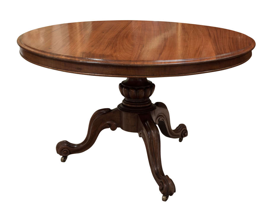 Victorian mahogany tilt-top breakfast table on a carved triad base