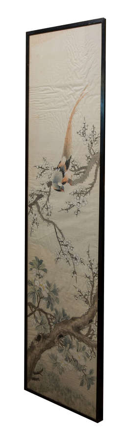 Chinese watercolour on silk of an exotic bird amongst flowering cherry