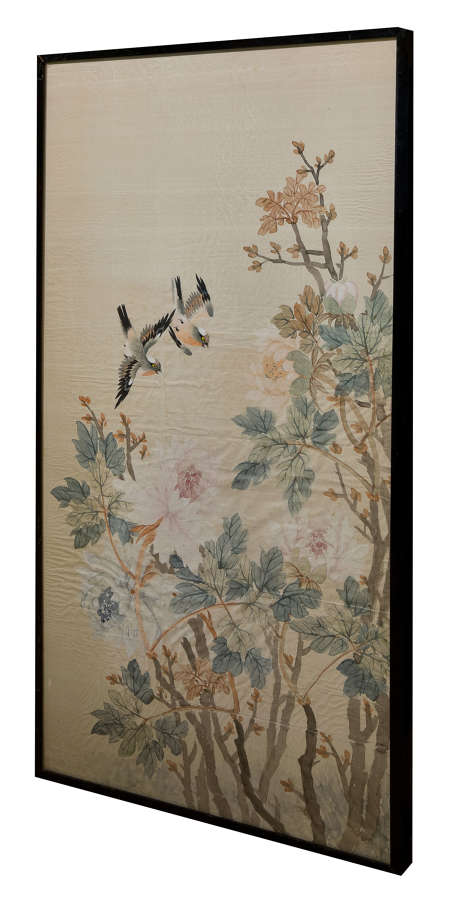 Chinese watercolour on silk of small birds amongst blossom c1930