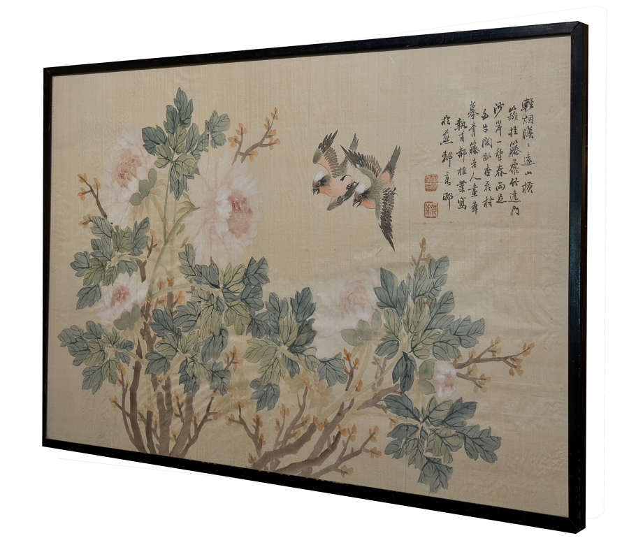 Chinese watercolour on silk of birds amongst flowering camellia c1930