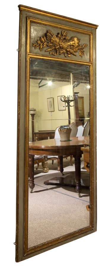 Early 19thC French trumeau mirror with carved decoration