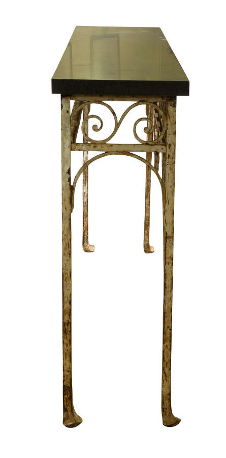 1930's wrought iron console table with later slate top