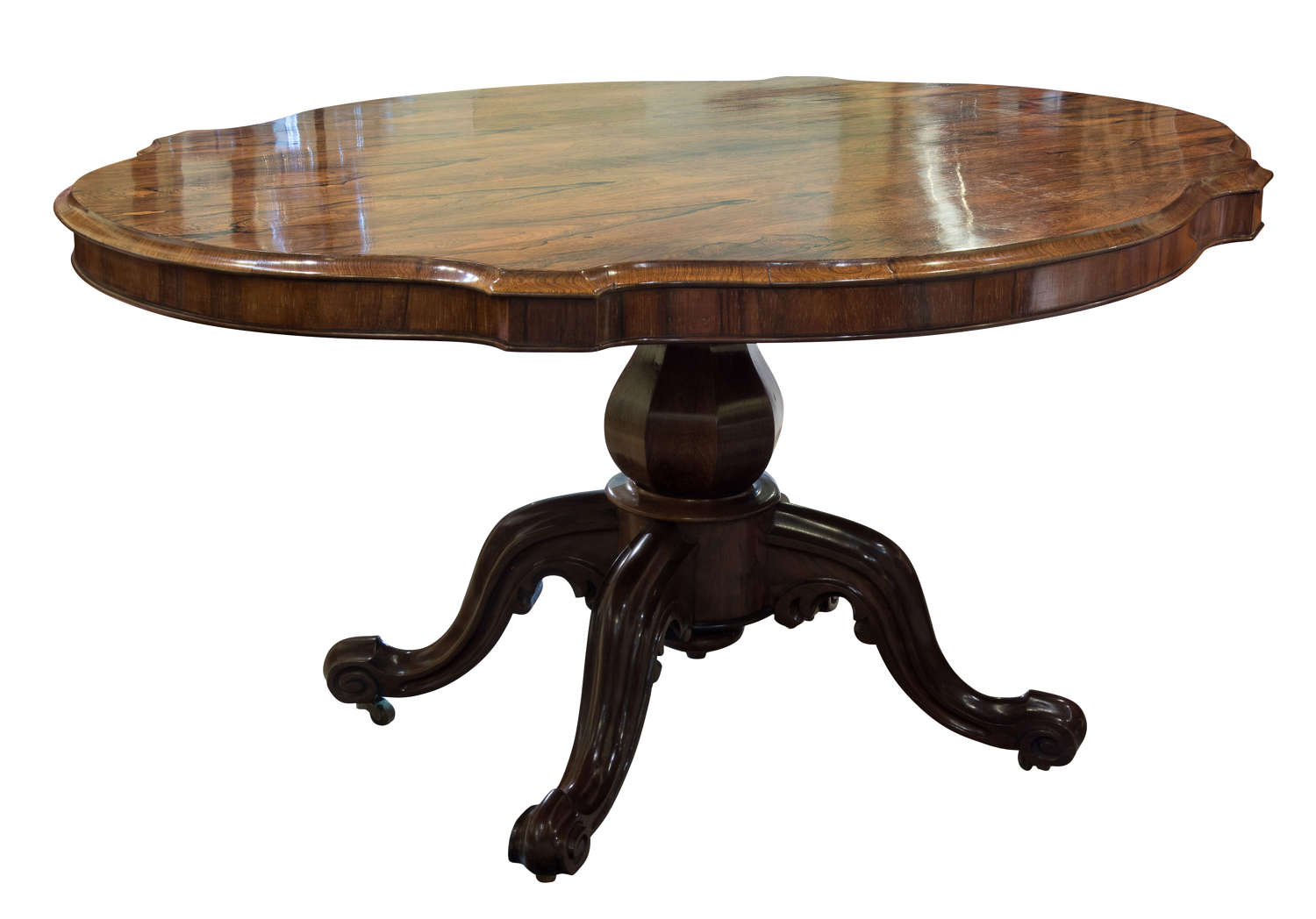 19thC shaped oval rosewood centre table c1860