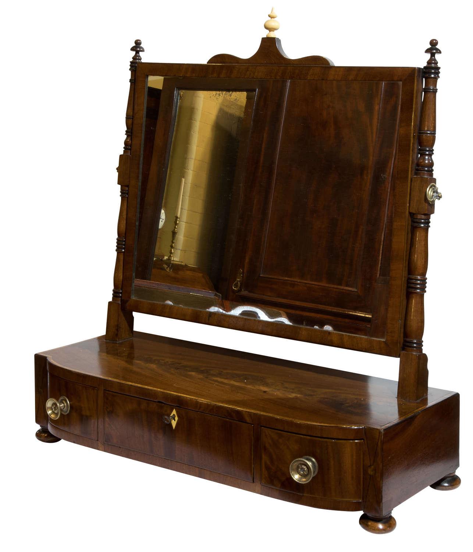 Regency period mahogany framed dressing table mirror c1820