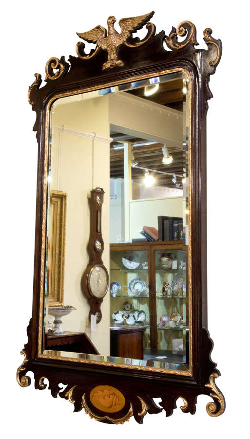 Late 19thC Chippendale style mahogany & gilt mirror c1890