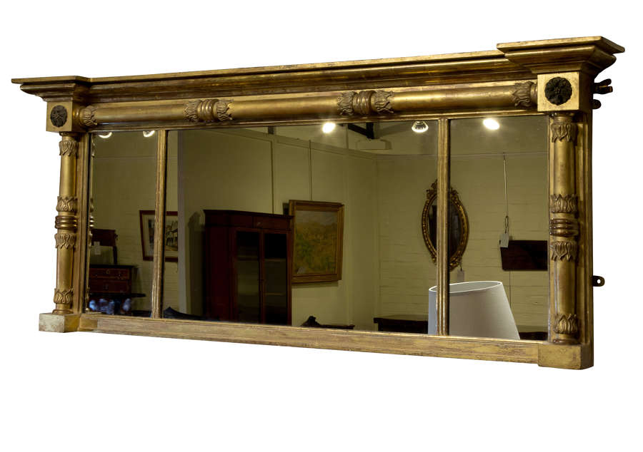 Large regency period triple plate overmantle mirror c1820