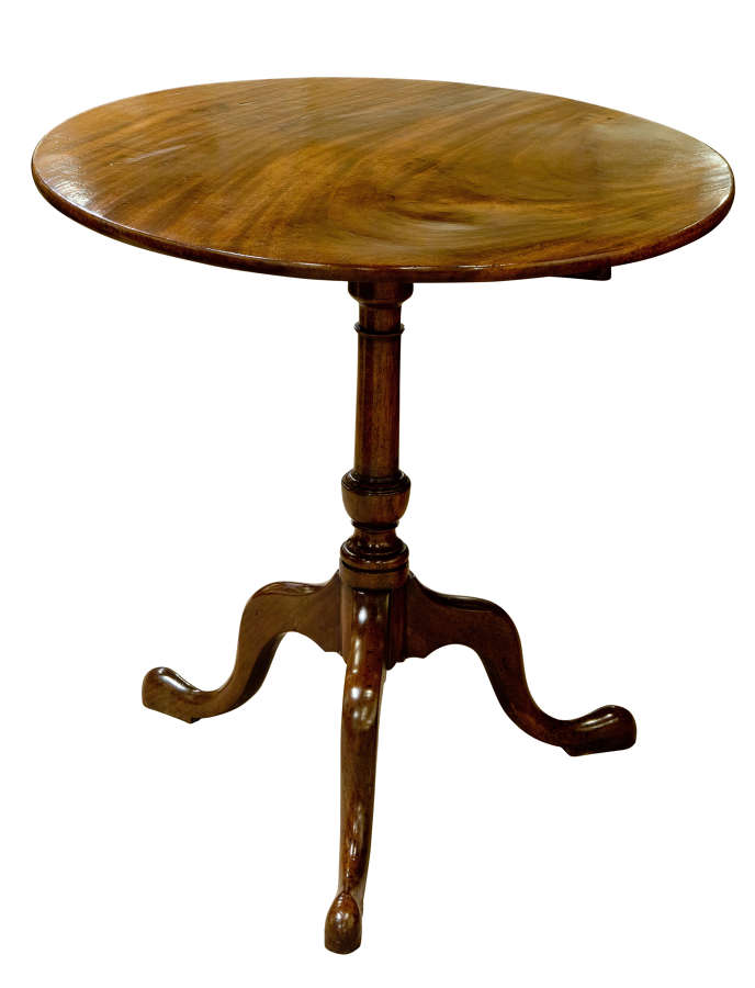 George III mahogany snap top tripod table of lovely colour c1780