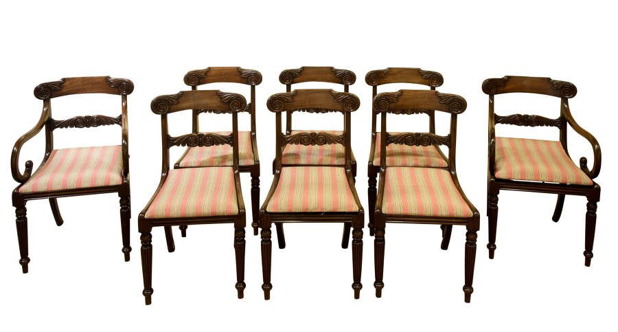 Fine set of 8 regency mahogany dining chairs with carved backs c1820