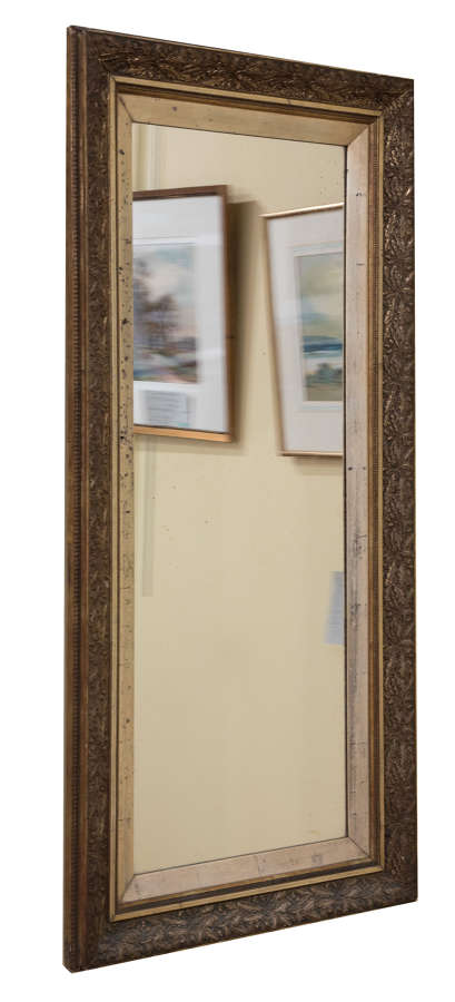 Late Victorian rectangular wall mirror in decorative frame c1890